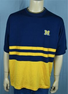 Vtg Starter Michigan Wolverines Navy Blue & Yellow T shirt Mens Sz XL