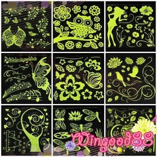 Glow in Dark Fluorescent Mural Art Removable Wall Sticker Decal Home