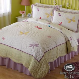 Kid Purple Butterfly Dragonfly Quilt Bedding Set Twin Full Queen