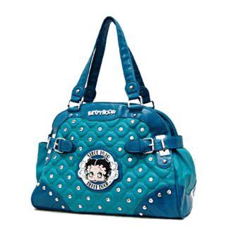 Betty Boop Signature Quilted Studs Side Belts Satchel Handbag Purse