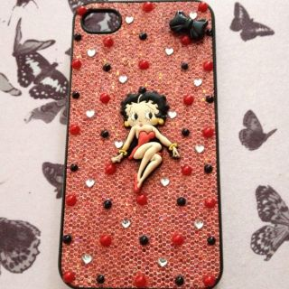 Hand Embellished Red Glitter Betty Boop iPhone 4 4S Case