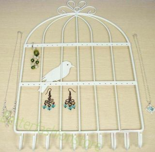 17 5Huge Bird Cage Jewelry Earring Key Ring Wall Mount Rack Hanger