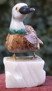 SiS 3 Multi color Stone COCKATOO Bird Carving   NICE GEMSTONE