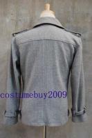 Twilight Edward Cullen Grey Gray Wool Jacket Pea Coat M