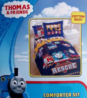 Thomas Friends Rail Rescue Blue Full Comforter Sheets Shams 8PC