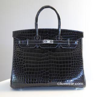 Graphite Porosus Croc Palladium 35cm Hermes Birkin Bag