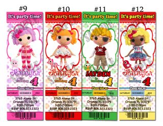 Lalaloopsy 12 designs Custom Birthday Party invitation ticket