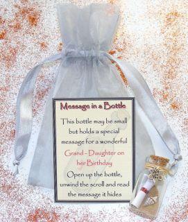 Novel Grand Daughter Birthday Message Bottle Gift Card