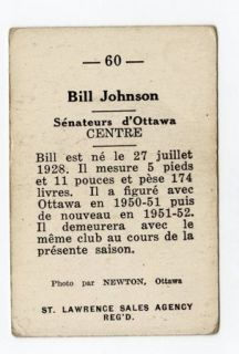 1952 53 St Lawrence Sales Bill Johnson 60