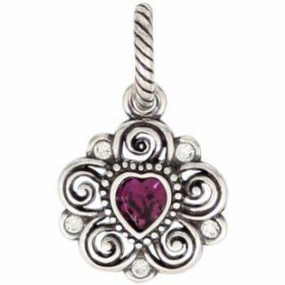 February Amethyst Birthstone Swaroski Crystal Charm Pendant
