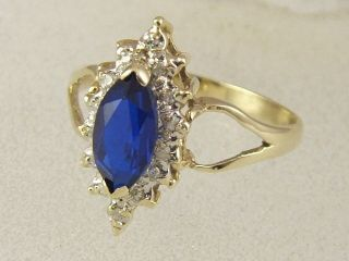 Diamond Syn Sapphire September Birthstone Right Hand Ring