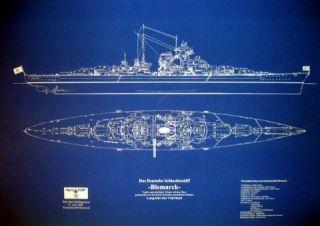 WW2 German Battleship BISMARCK Blueprint Plan 24 x36 big blue