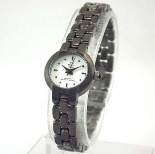 Bill Robinson Womens Black ion Placed Round White Dial Bracelet Watch