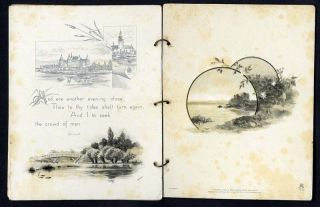 TUCK 1880s VICTORIAN BOOKLET   Poem by WILLIAM CULLEN BRYANT   Reeds