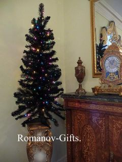 Sparkling Black Christmas Tree Pre Lit with Multi Colored Lights 4 ft