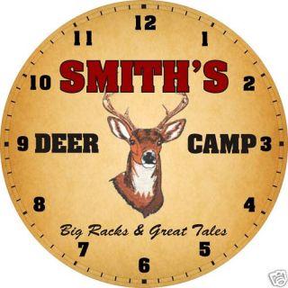 Personalized Deer Camp Big Buck Den Cabin Lodge Clock