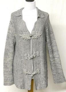 Coldwater Creek Size L 14 16 Gray Silver Sweater Large Frog Closures