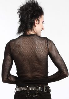 Lip Service Fishnet Long Sleeve Shirt Black w Skeleton x Ray Nylon