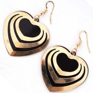 Korean Style Black Gold Heart Shinning Dangle Earring Jewelry
