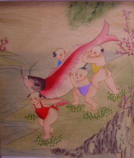 Painting happy children Kids big KOI fish original art watercolor oil