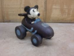 Vintage Cast Iron Mickey Mouse Driving Race Car