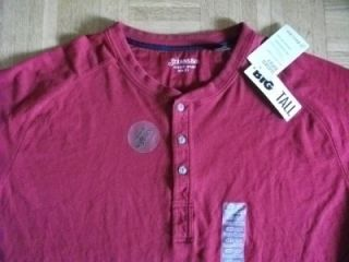 St Johns Bay Big & Tall Sueded Jersey Henley 3XL Regal Red Shirt L/S