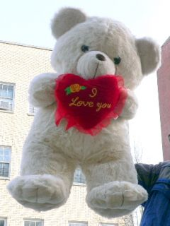 Big Plush 33 Large Teddy Bear w Love Heart Made in USA
