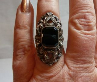 Vintage Sterling Black Onyx and Marcasite Ring