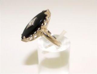 Antique 1920s 10KT Yellow Gold Black Onyx Diamond Ring