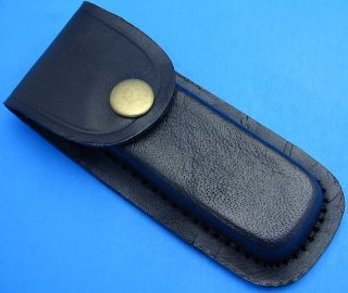 Black Leather Belt Sheath Pouch for Folding Knife or Multi tool