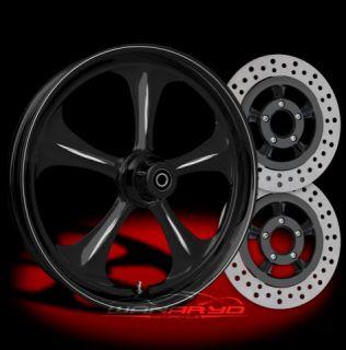 Black Wanaryd Adrenaline Wheels Tires Rotors Harley FLH FLHR FLHX FLTR