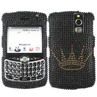 CROWN BLACK BLING RHINESTONE CASE COVER FOR BLACKBERRY CURVE 8300 8310