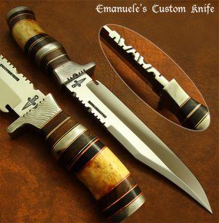 Handmade by Bill Anderson RARE Custom Bowie Knife Fossil Giraffe