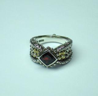 Barbara Bixby Lotus Flower Sterling Silver 18K Gold Ring Size 8