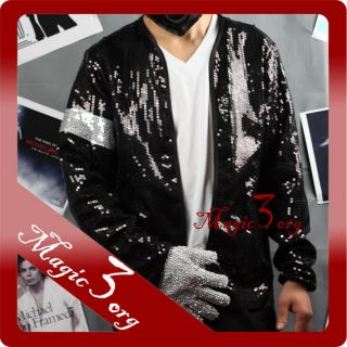 Michael Jackson Billie Jean Sequin Jacket w Armband MJ Costume Coat