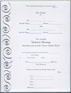 Catholic Marriage Certificate Silver Scroll Blank