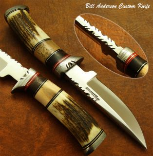 Bill Andersons 1 of A Kind Stunning Custom Knife Stag Antler Damascus
