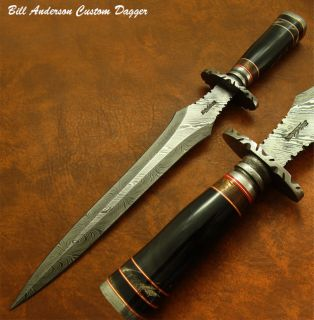 Bill Andersons Stunning RARE 1 of A Kind Custom Damascus Art Dagger