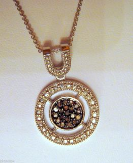 20 Ct Chocolate Diamond Circle Pendant Necklace