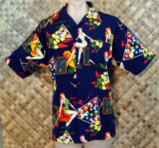 SPORT mens HAWAIIAN PIN UP GIRL BILLIARD HIBISCUS Print Shirt   Medium