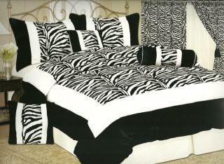 pcs bed in a bag comforter set black and white zebra print blk