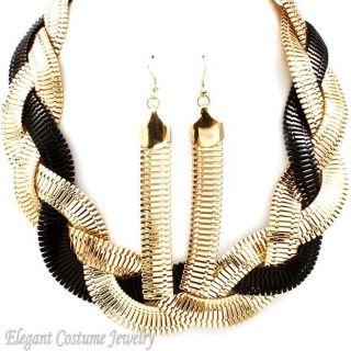 Black Gold Braided Extra Wide Omega Chunky Necklace Set Elegant