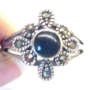 sterling silver black onyx ladies ring with marcasite accents size 8