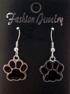Black Dog Paw Print Dangle Earrings Set New Low SHIP