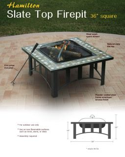 36 Slate Fire Pit Outdoor Backyard Patio Deck Garden