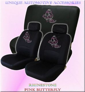 6pc Rhinestone Pink Butterfly Seat Covers Bench Cover