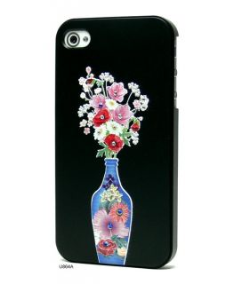 Colourful Vase 3D Relief Bling Rhinestones Hard Cover Case for iPhone