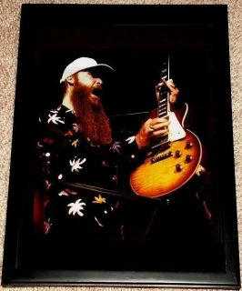ZZ Top Billy Gibbons Gibson 1959 Pearly Gates Les Paul Framed Tribute