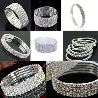 Rhinestone Wedding Party Stretch Bangle Bracelet Bling Jewelry