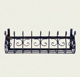 extra large window box wall plant holder wrought iron in a black